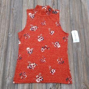 Eye Candy Burnt Orange Ribbed Floral Mock Neck Top